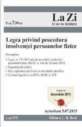 Legea Privind Procedura Insolventei Persoanelor Fizice - Act. 05.07.2015
