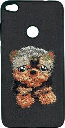 Lemontti Carcasa Embroidery Huawei P9 Lite 2017 Black Puppy Huse Telefoane