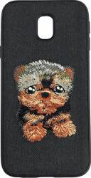 Lemontti Carcasa Embroidery Samsung Galaxy J5 2017 Black Puppy Huse Telefoane