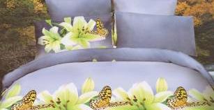 Lenjerie de pat 3D NovaHouse Crini albi si Fluturi