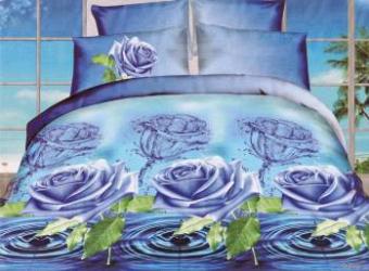 Lenjerie de pat 3D NovaHouse Trandafiri Albastri