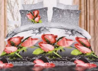Lenjerie de pat 3D NovaHouse Trandafiri cu Ploaie