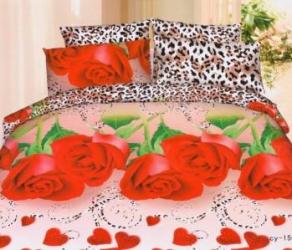 Lenjerie de pat 3D NovaHouse Trandafiri Rosii si Petale