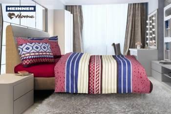 Lenjerie de pat King Size Heinner Home HR-4KGBED144-BRG, Bumbac, 4 piese Multicolor Lenjerii de pat