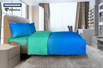 Lenjerie de pat King Size Heinner Home HR-4KGBED144-MRN, Bumbac, 4 piese Albastr-Verde lenjerii de pat