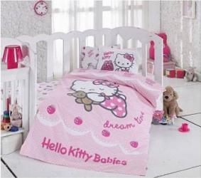 Lenjerie de Pat Miss Mina Hello Kitty Ribbon Bebe Lenjerii de pat