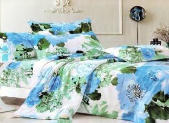 Lenjerie de pat NovaHouse din Bumbac Satinat Flori-Albastre-Verzi