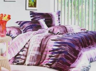 Lenjerie de pat NovaHouse din Bumbac Satinat Linii Mov Lenjerii de pat