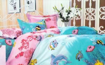 Lenjerie de pat NovaHouse din Bumbac Satinat Recif de Corali Lenjerii de pat