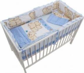 Lenjerie MyKids Teddy Friends 4+1 Piese M1 120x60 Albastru Lenjerii si accesorii patut