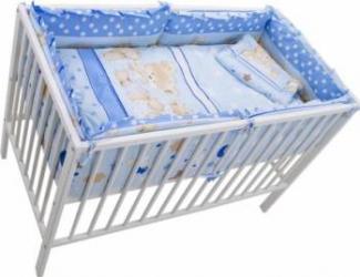 Lenjerie MyKids Teddy Hug 4+1 Piese 120x60 Blue Lenjerii si accesorii patut