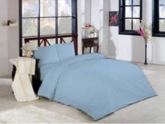 Lenjerie pat 2 persoane Studio Casa Cyt-Ciel Bleu Uni Lenjerii de pat