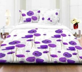 Lenjerie de pat dubla 4 piese 144TC-Flower PURPLE Lenjerii de pat