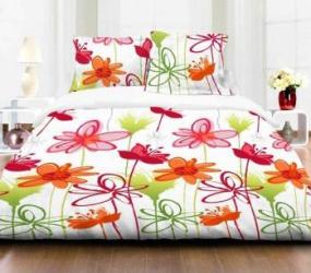 Lenjerie de pat dubla Heinner Home 4 piese 144TC-Flower RED Lenjerii de pat