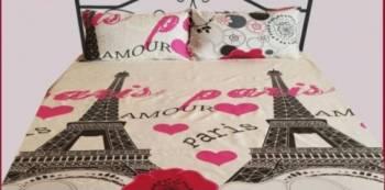 Lenjerie pat turnul Eiffel mare Bumbac 100% cearceaf pat 180X220, cearceaf pilota 180X220, fata perna 2X50X70 cm