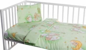 Lenjerie patut cu 3 piese Ursuletul somnoros Verde Lenjerii si accesorii patut