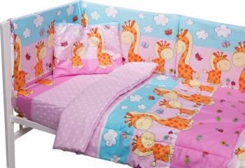 Lenjerie patut cu 5 piese Giraffe Pink Lenjerii si accesorii patut