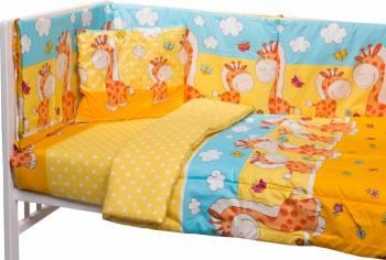 Lenjerie patut cu 5 piese Giraffe Yellow Lenjerii si accesorii patut
