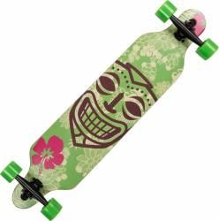 Longboard Action Land Surfer® II ABEC-9, PU, Aluminiu, 100kg  Tiki Mask Green Penny Board