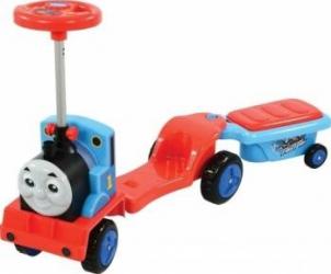 Masinuta pentru copii de impins Locomotiva Thomas 3 in 1 trotineta cu remorca Trotinete