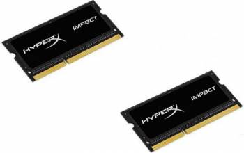 Memorie Lptop DDR3 SODIMM Kingston HyperX Impact Black 16GB (2x8GB) 1866MHz CL11 1.35V Memorii Laptop