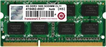 Memorie Transcend 4GB DDR3 1600MHz CL11 Memorii Laptop