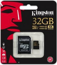 Card de Memorie Kingston MicroSDHC 32GB Clasa 10 U3 UHS-I 90MBs + Adaptor SD
