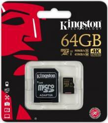 Card de Memorie Kingston MicroSDHC 64GB Clasa 10 U3 UHS-I 90MBs + Adaptor SD