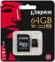 Card de Memorie Kingston MicroSDHC 64GB Clasa 10 U3 UHS-I 90MBs + Adaptor SD