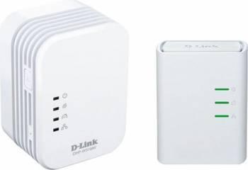 Mini Extender Wireless N PowerLine D-Link AV500 QoS buton conectare comuna WPS Alb Wireless