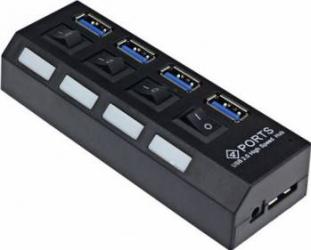 Mini usb hub OEM 3.0 cu 4 porturi High speed plus cablu Negru USB Hub