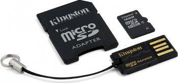 Card de Memorie Kingston microSDHC 16GB Class4 + Card Reader + Adaptor Carduri Memorie