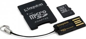 Card de Memorie Kingston microSDHC 32GB Class4 + Card Reader + Adaptor Carduri Memorie
