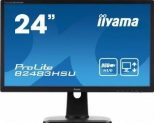 Monitor LED 24 Iiyama ProLite B2483HSU-B1DP Full HD 2ms Negru Monitoare LCD LED