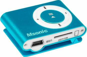 MP3 Player Msonic miniUSB Aluminiu Albastru MP3 Player