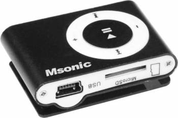 MP3 Player Msonic miniUSB Aluminiu Negru MP3 Player