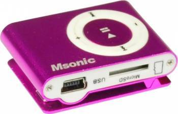 MP3 Player Msonic miniUSB Aluminiu Roz MP3 Player