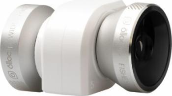 Obiectiv Conversie OlloClip 4-in-1 iPhone 5s 5 Alb-Argintiu Selfie Stick si Accesorii Camera