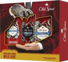 Old Spice deo spray Wolfthorn 125ml+Shower gel 250ml+After Shave lotion 100ml Seturi Cadou
