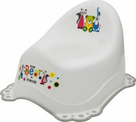 Olita muzicala MyKids Little Bear and Friend sistem antialunecare Alb-Gri Olite si reductoare WC