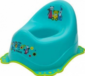 Olita muzicala MyKids Little Bear and Friend sistem antialunecare Turquoise Olite si reductoare WC