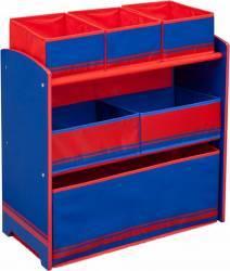 Organizator jucarii Delta Children cu cadru din lemn Love Blue Red Mobila si Depozitare jucarii