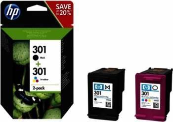 Pachet 2 cartuse HP 301 Negru + Tri-color Cartuse Tonere Diverse