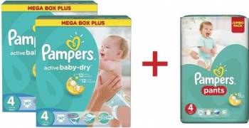 Pachet Pampers 2xScutece Active Baby 4 Mega Box Plus 147 buc+Scutece Active Baby Pants 4 Jumbo Pack 52 buc GRATUIT