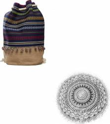 Pachet plaja: Prosop 100% bumbac + Rucsac textil 45x44 cm Etnic Genti de plaja