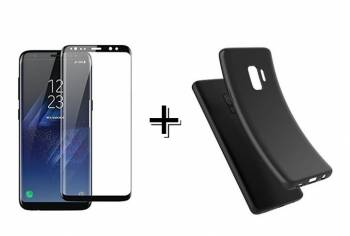 5ef55a210bb Pachet Folie Sticla 3D + Husa silicon Neagra Samsung Galaxy S9 Plus Full  Folii Protectie