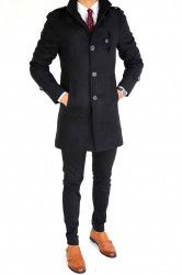 pret preturi Palton fashion negru cu buzunar la piept pentru barbati XL