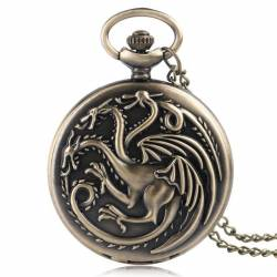 Pandantiv Medalion Lantisor Colier Ceas Game Of Thrones Daenerys Targaryen Dragons Bronze Gaming Items