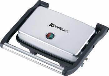 Panini grill DeKassa DK-1201 1500W Carcasa inox Termostat Protectie supraincalzire Sandwich maker