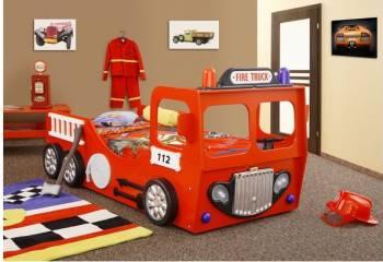 Pat in forma de masina Pompieri Patut bebe,tarcuri si saltele